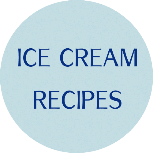 """blue circle with """"ice cream recipes"""" text"""