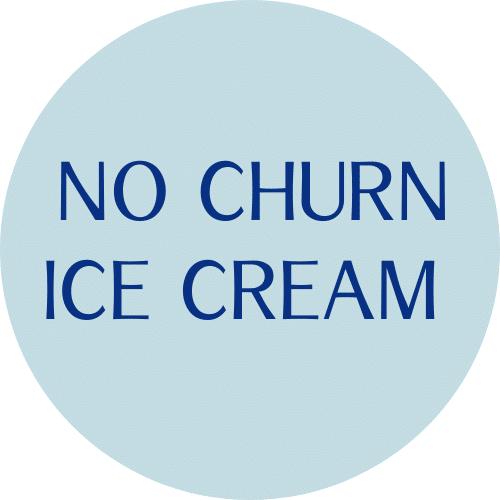 "BLUE CIRLC WITH 'NO CHURN ICE CREAM"" TEXT"