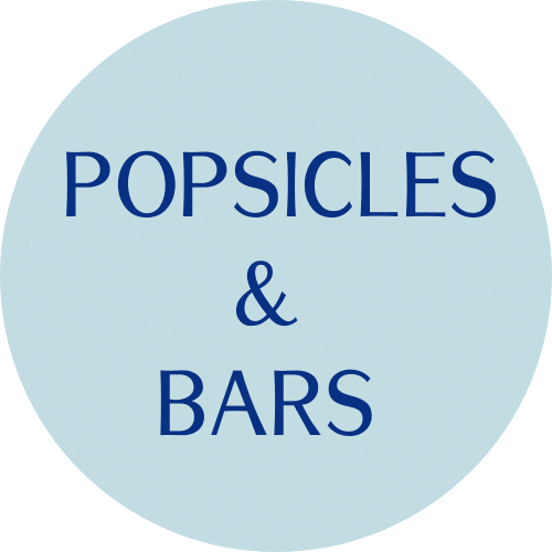 """blue circle with """"popsicles and bars"""" text"""