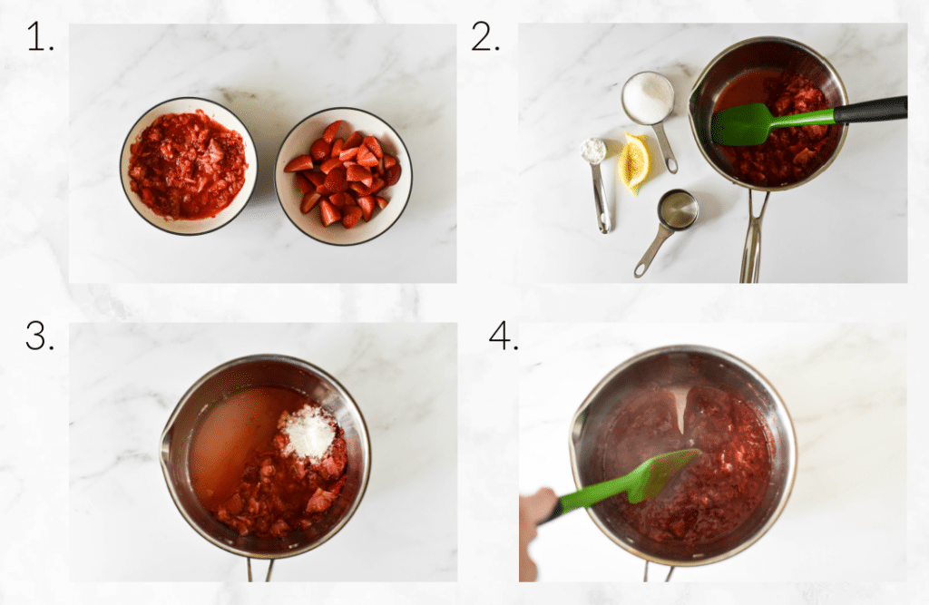 collage of steps showing mashing berries, mixing ingredients and cooking sauce