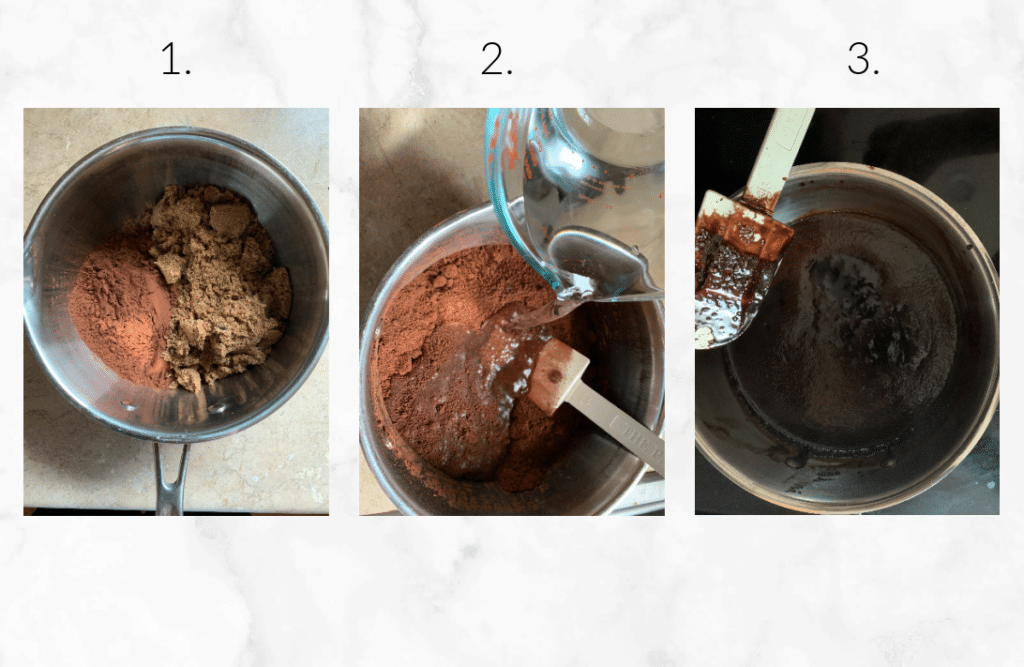 collage showing steps to make hot fudge