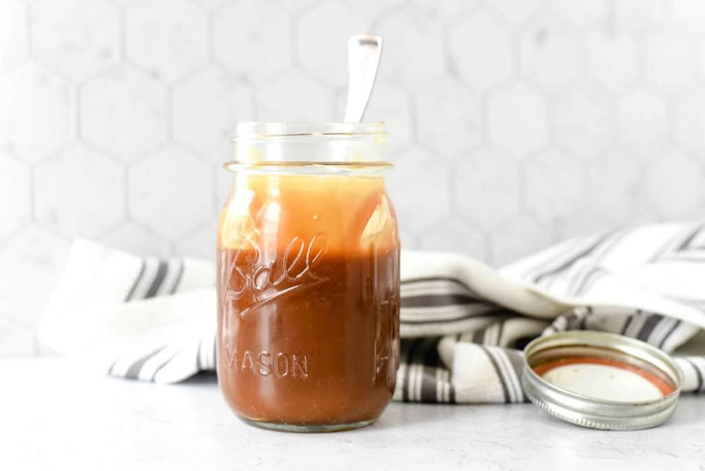 mason jar with caramel topping