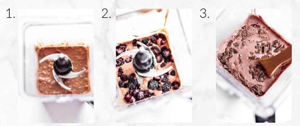 mixing blackberry ice cream