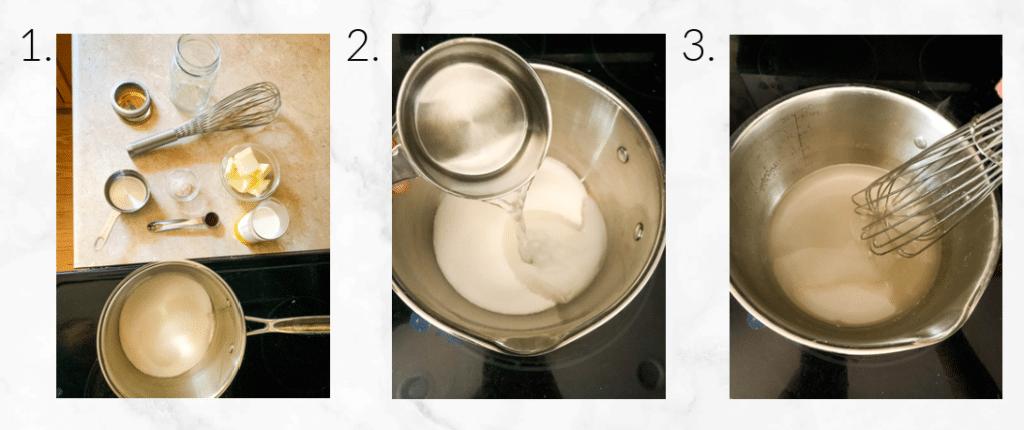 mixing caramel sauce