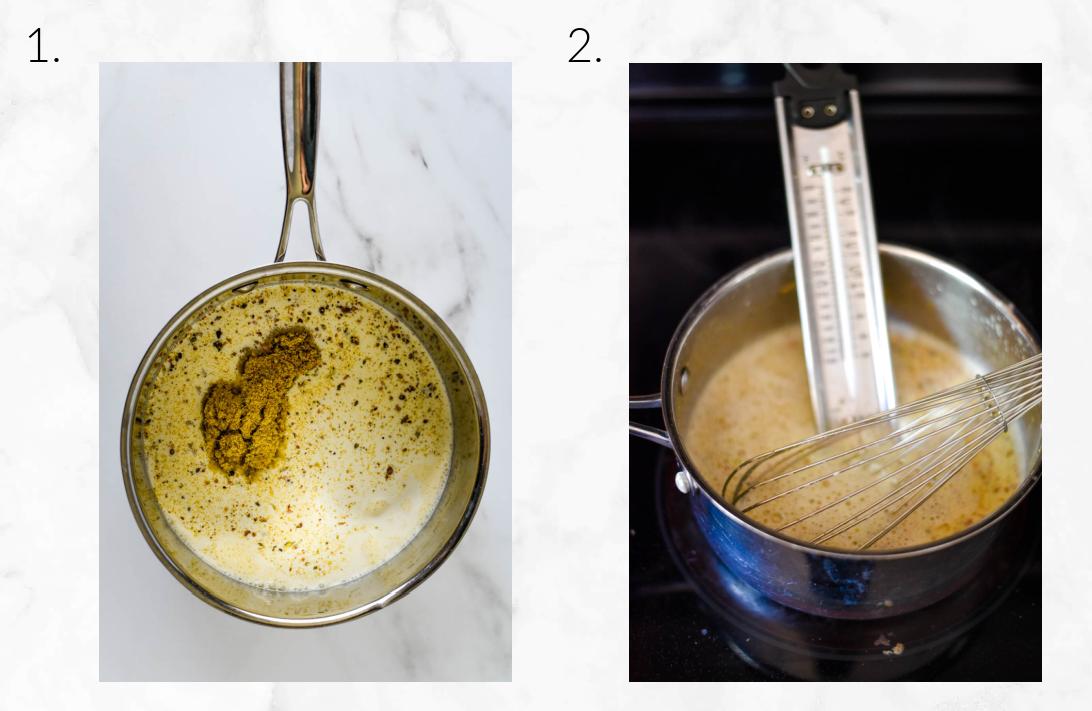 whisking cream mixture to create ice cream base